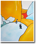 Penguins on boulder